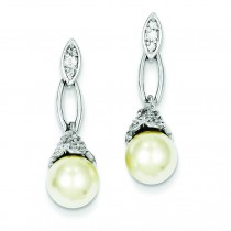 Synthetic Pearl CZ Post Earrings in Sterling Silver