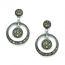 Marcasite Circle Dangle Post Earrings in Sterling Silver