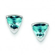 Blue CZ Trillion Post Earrings in Sterling Silver