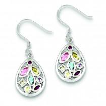 Multicolored CZ Dangle Wire Earrings in Sterling Silver