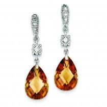 Champagne CZ Dangle Post Earrings in Sterling Silver