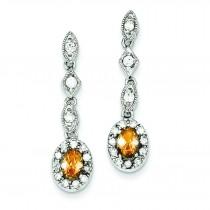 Champagne Clear CZ Post Earrings in Sterling Silver