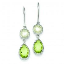Light Green Yellow CZ Dangle Earrings in Sterling Silver