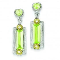 Vermeil Light Green CZ Post Earrings in Sterling Silver