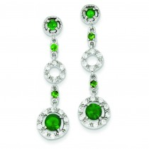 Green Glass CZ Dangle Post Earrings in Sterling Silver