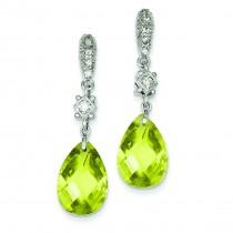 Light Green CZ Dangle Post Earrings in Sterling Silver