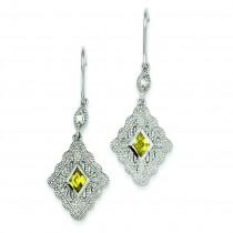 Yellow Clear CZ Dangle Earrings in Sterling Silver