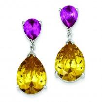 Yellow CZ Pink Sapphire Dangle Post Earrings in Sterling Silver