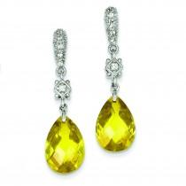 Yellow CZ Dangle Post Earrings in Sterling Silver