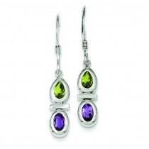 Peridot Amethyst Dangle Earrings in Sterling Silver
