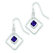 Diamond Shaped Purple CZ Earrings in Sterling Silver