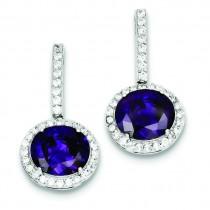 Purple Clear CZ Post Earrings in Sterling Silver