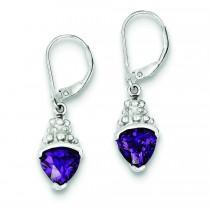 Purple CZ Leverback Earrings in Sterling Silver