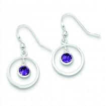 Circle Dangle Purple CZ Earrings in Sterling Silver