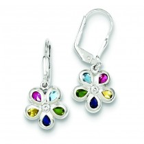 Multicolored CZ Floral Earrings in Sterling Silver