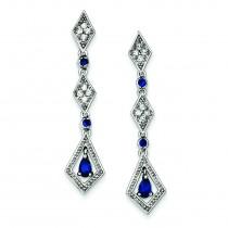 Dark Blue CZ Dangle Post Earrings in Sterling Silver