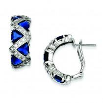 Dark Blue CZ Omega Back Earrings in Sterling Silver