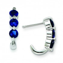 Blue Glass J-Hoop Post Earrings in Sterling Silver