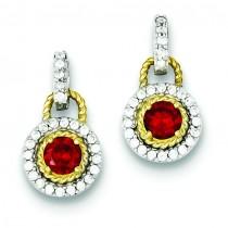 Vermeil Dark Red CZ Earrings in Sterling Silver