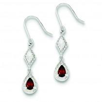 Dark Red CZ Dangle Earrings in Sterling Silver