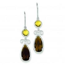 Brown Yellow CZ Dangle Earrings in Sterling Silver