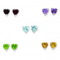 Gemstone Post Earrings Set in Sterling Silver