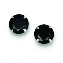 Black CZ Stud Earrings in Sterling Silver