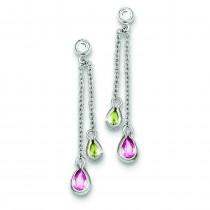 Multicolor CZ Dangle Post Earrings in Sterling Silver