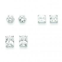 Pair Set CZ Earrings in Sterling Silver