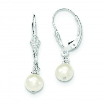 White Cultured Pearl Earrings in Sterling Silver