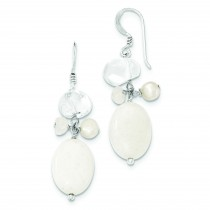 Fresh Water Cult Pearl Moonstone Rock Quartz White Jade Earrings in Sterling Silver