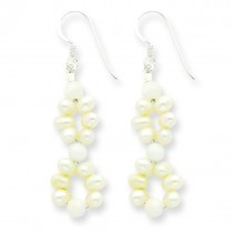 White Jade Freshwater Cultured Pearl Earrings in Sterling Silver