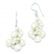Clear Crystal And Freshwater Cultured Pearl Earrings in Sterling Silver