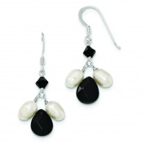Onyx Fresh Water Cultured White Pearl Black Crystal Earrings in Sterling Silver