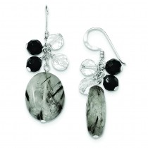Black Agate Crystal Tourmalinated Quartz Earrings in Sterling Silver