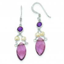 Amethyst Crystal Purple CZ Fresh Water Cultured Pearl Earrings in Sterling Silver