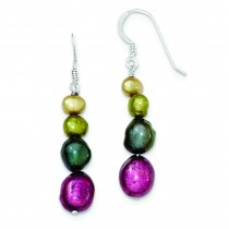 Multicolor Cultured Pearl Earrings in Sterling Silver