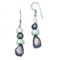 White Grey Freshwater Cultured Pearl Earrings in Sterling Silver