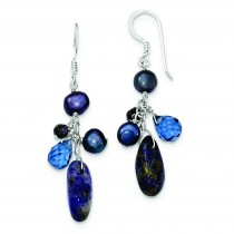 Blue Sandstone Dark Blue Cultured Pearl Earrings in Sterling Silver