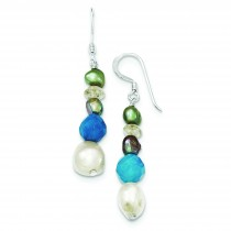 Blue Jade Citrine Freshwater Cultured Pearl Earrings in Sterling Silver