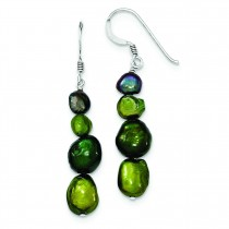 Dark Green Dark Purple Green Olivine Cultured Pearl Earrings in Sterling Silver