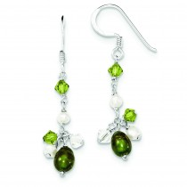Green White Fresh Water Cultured Pearls Crystals Earrings in Sterling Silver