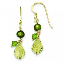 Vermeil Crystal Fresh Water Cultured Pearl Peridot Earrings in Sterling Silver