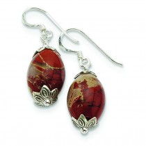 Red Jasper Antiqued Earrings in Sterling Silver