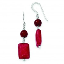 Red Coral Red Agate Earrings in Sterling Silver
