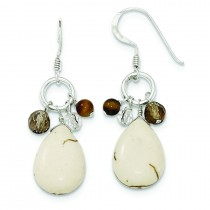 Crazy Lace Agate Clear Smokey Quartz Tiger Eye Earrings in Sterling Silver