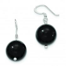 Black Agate Earrings in Sterling Silver