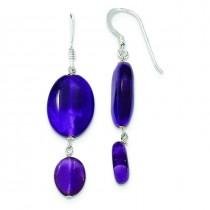 Amethyst And Dark Purple Jade Earrings in Sterling Silver