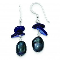 Dark Blue Mother Of Pearl Fresh Water Cultured Pearl Earrings in Sterling Silver