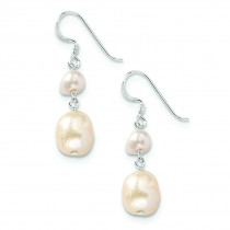 Champagne Cream Freshwater Cultured Pearl Earrings in Sterling Silver